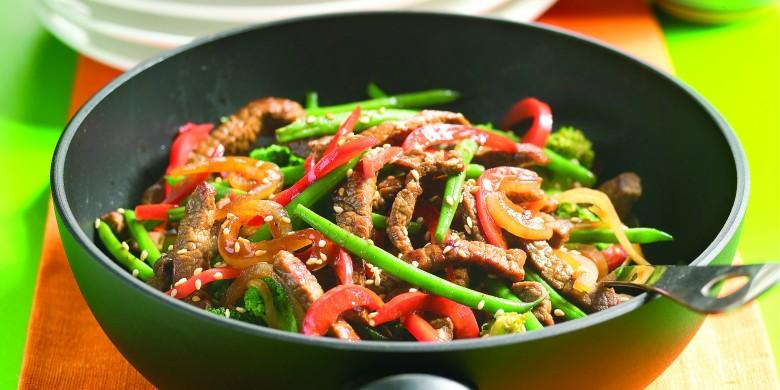 Biefreepjes en groente uit de wok