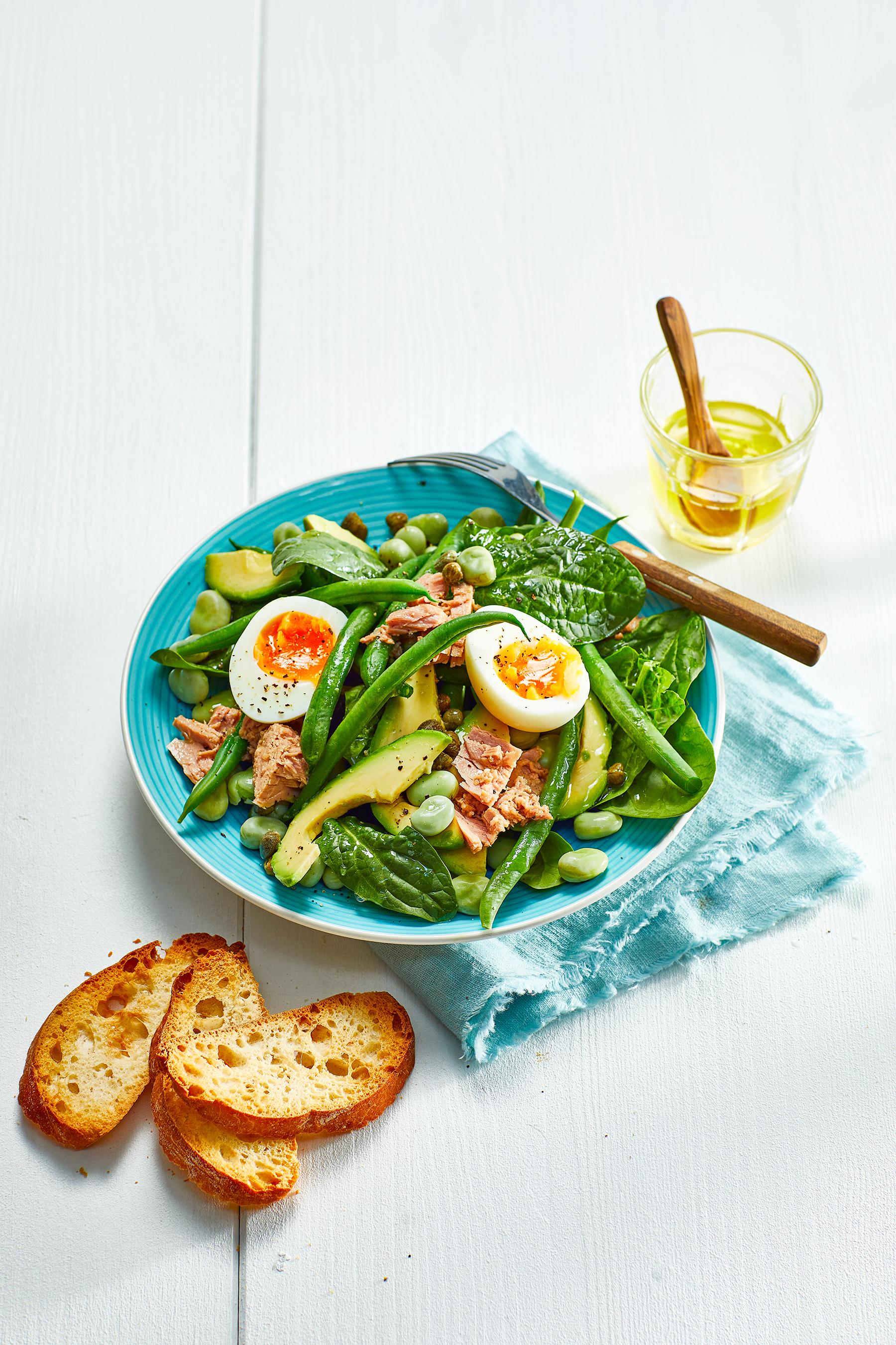 Groene maaltijdsalade met tonijn