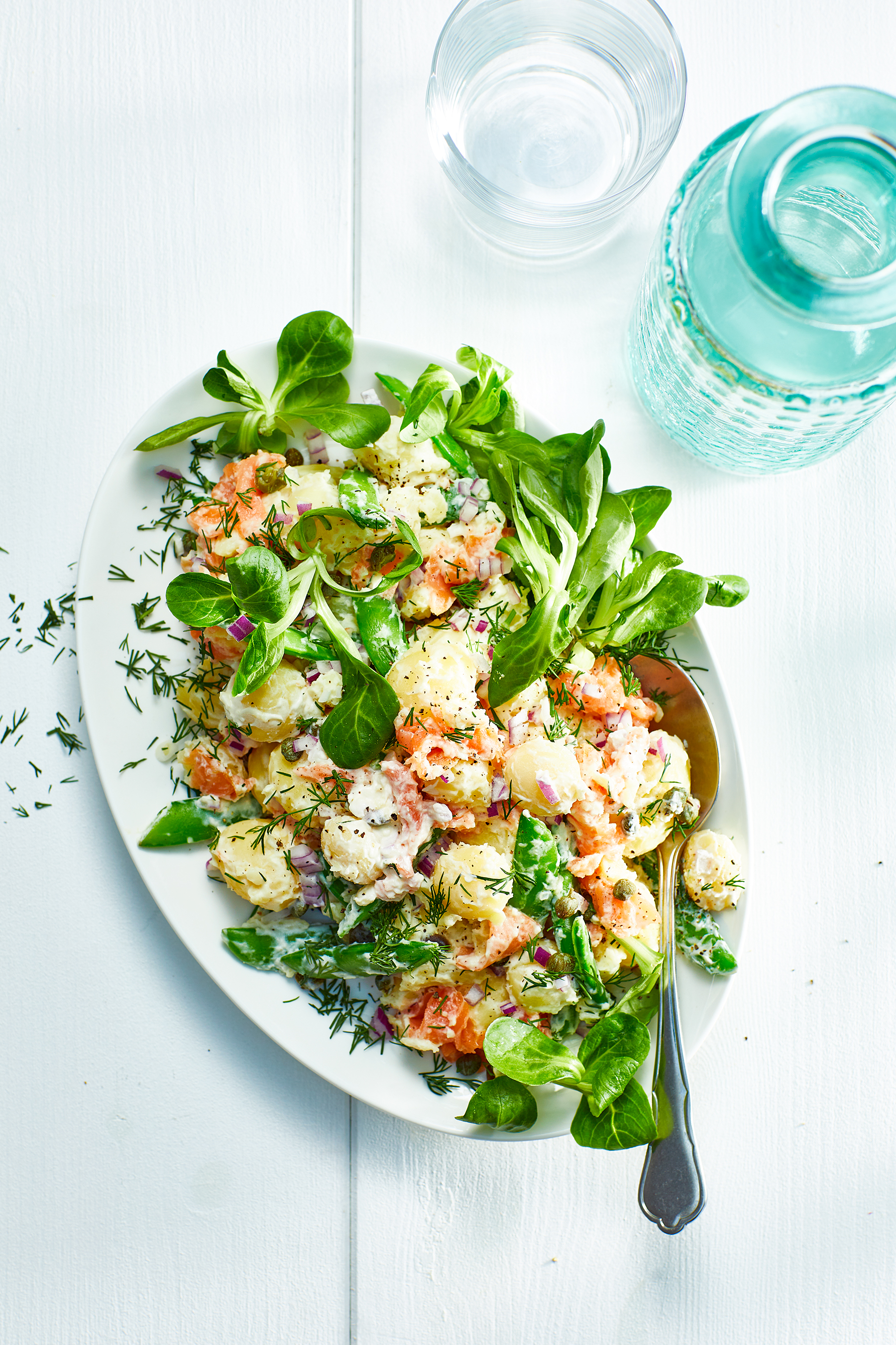 Romige krieltjessalade met zalm