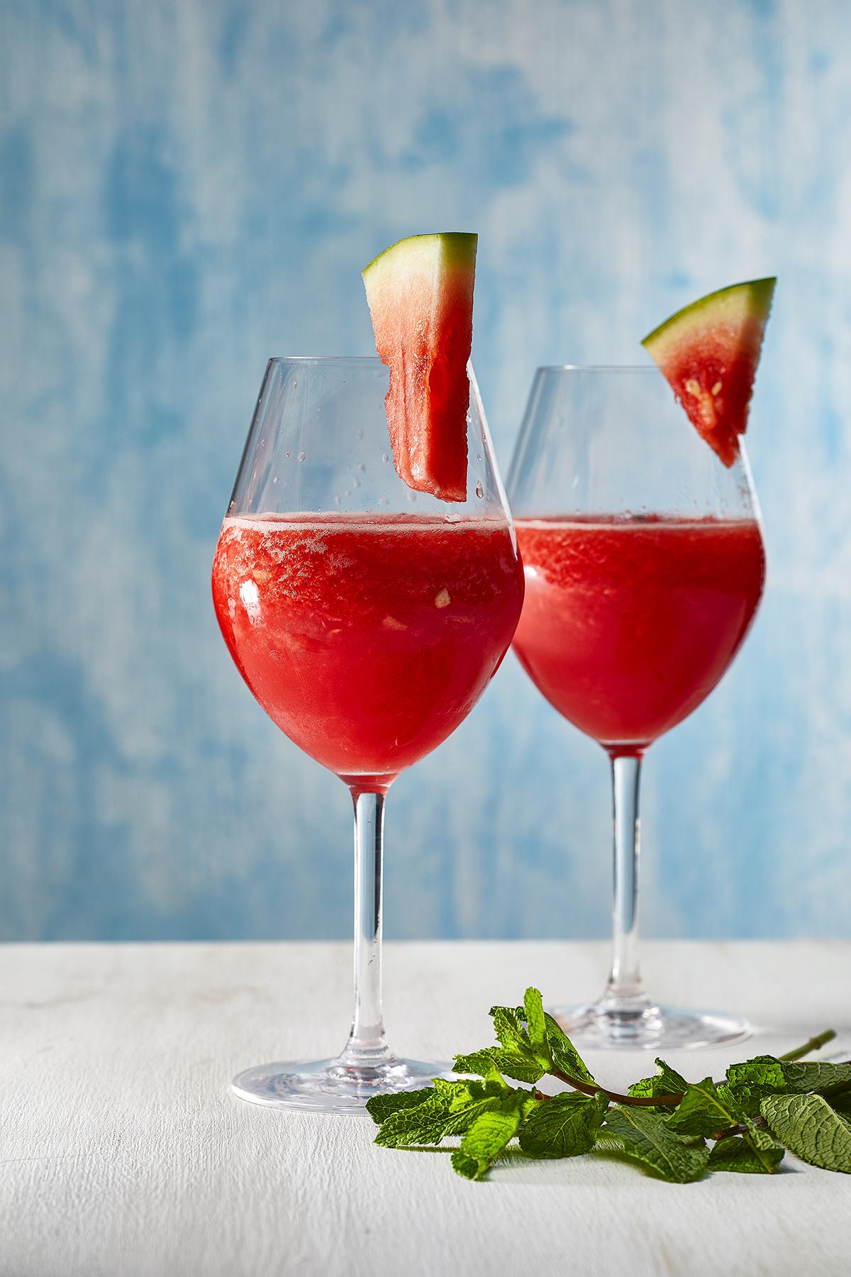 Watermeloen-rosé slush
