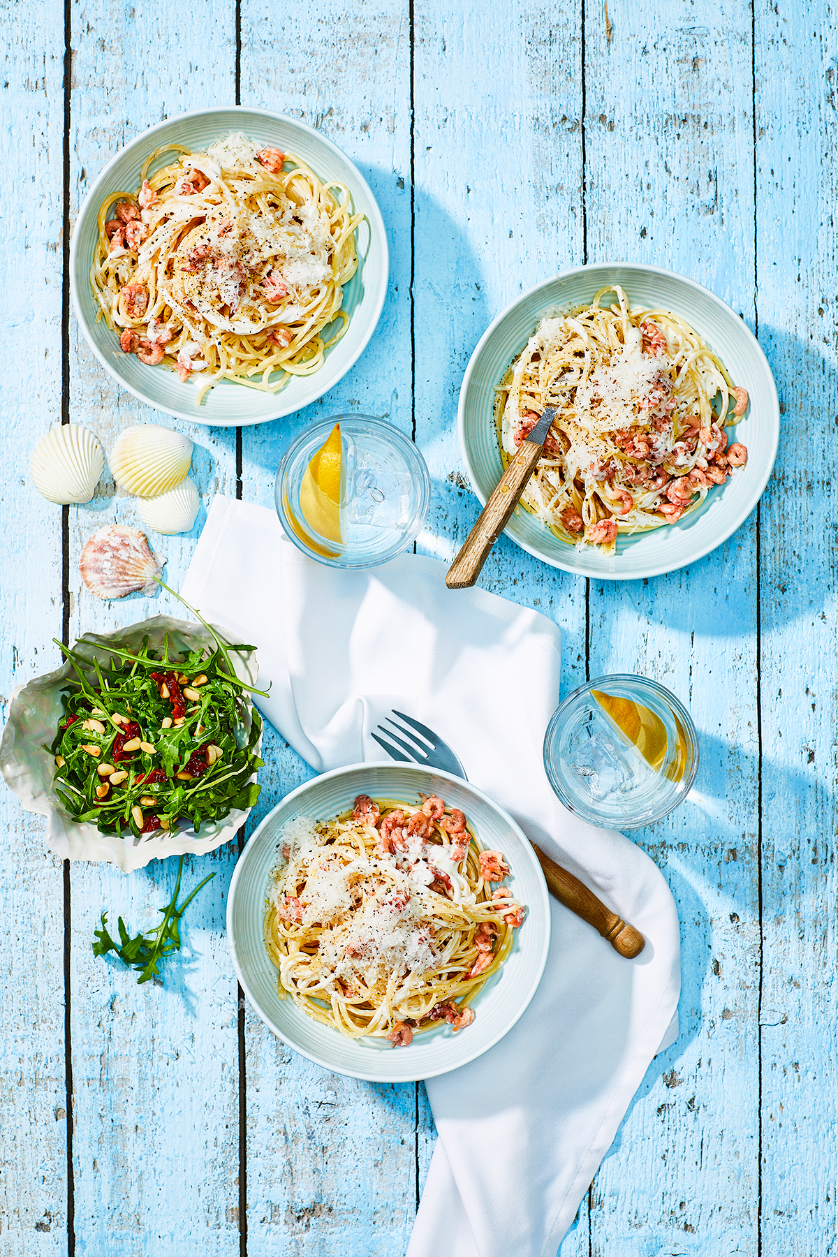 Spaghetti met citroensaus en Hollandse garnalen
