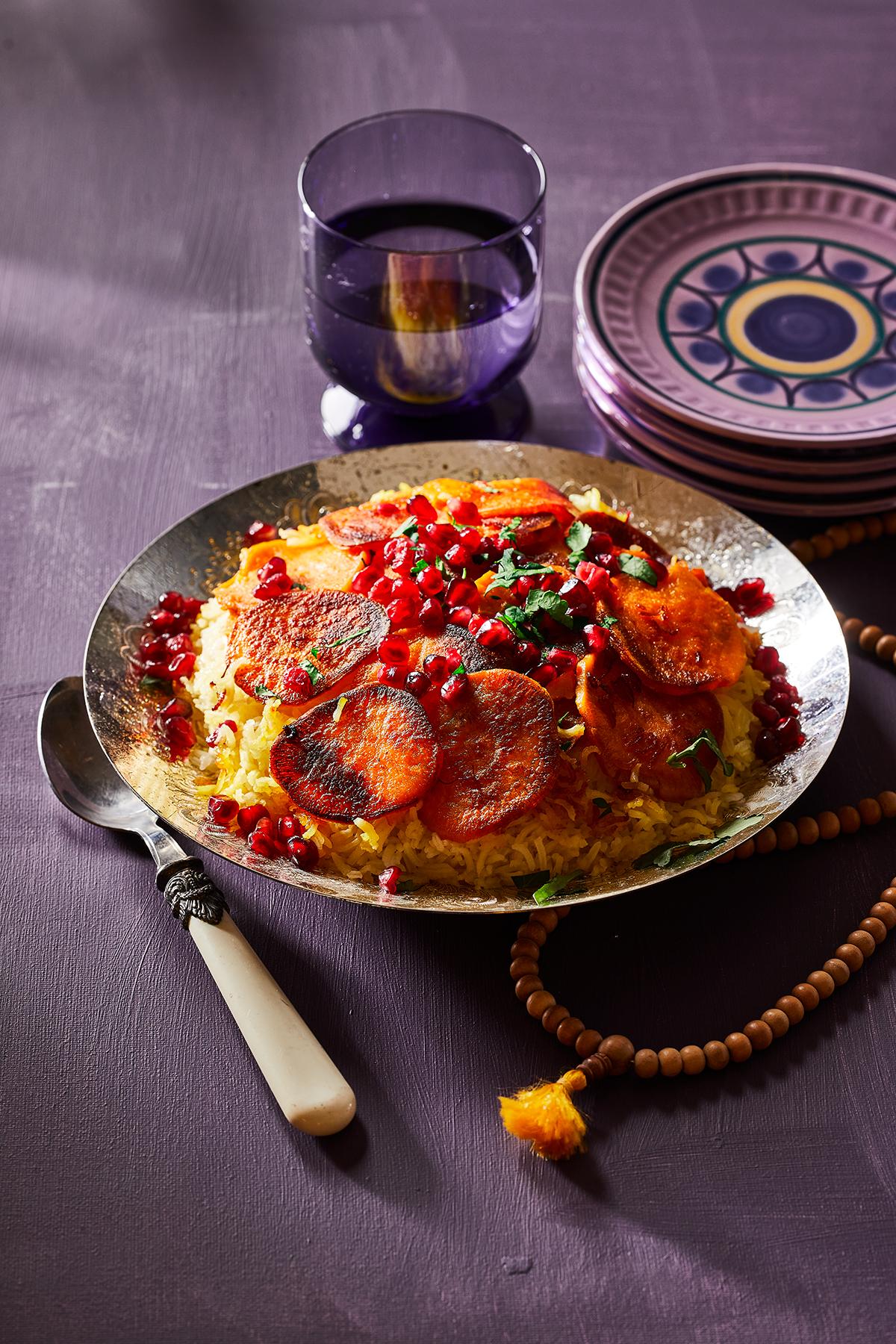 Perzische rijst met zoete aardappel en saffraan
