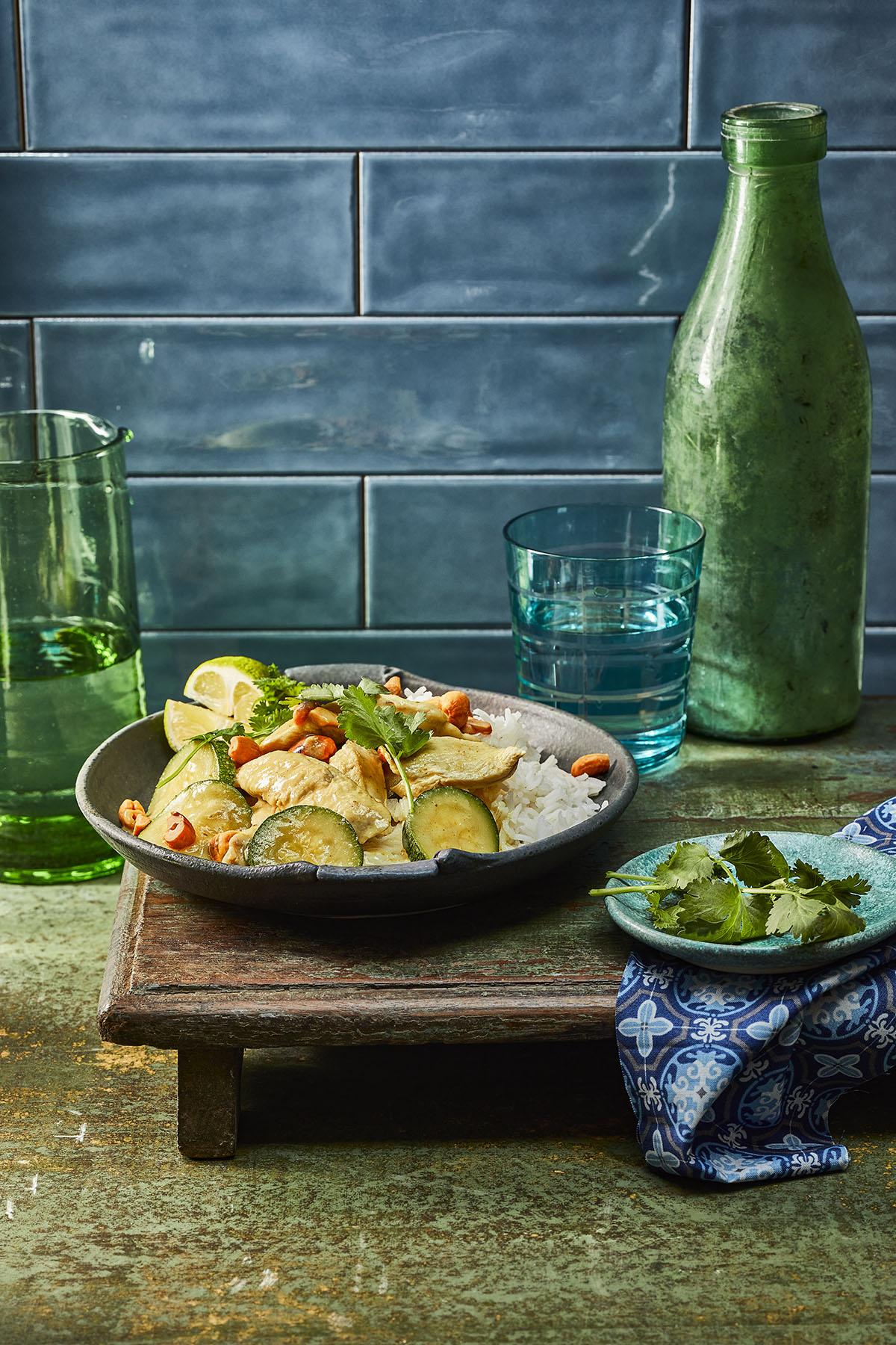 Thaise groene curry met kip en cashewnoten