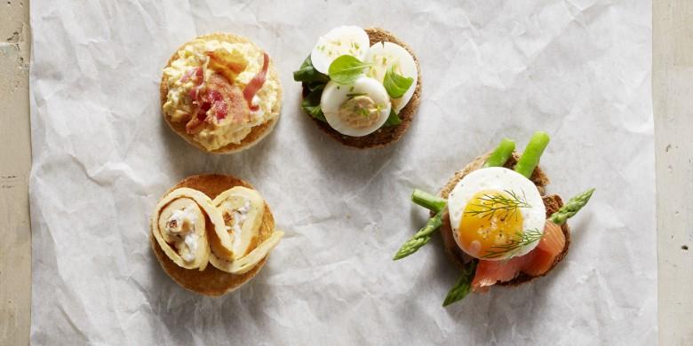 Broodrondjes met gevuld ei
