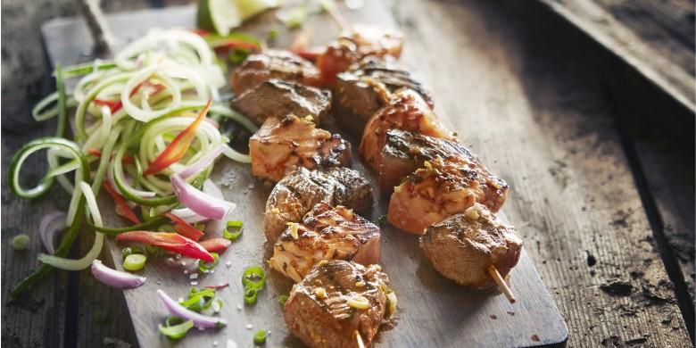 Thaise barbecuespies met biefstuk en zalm