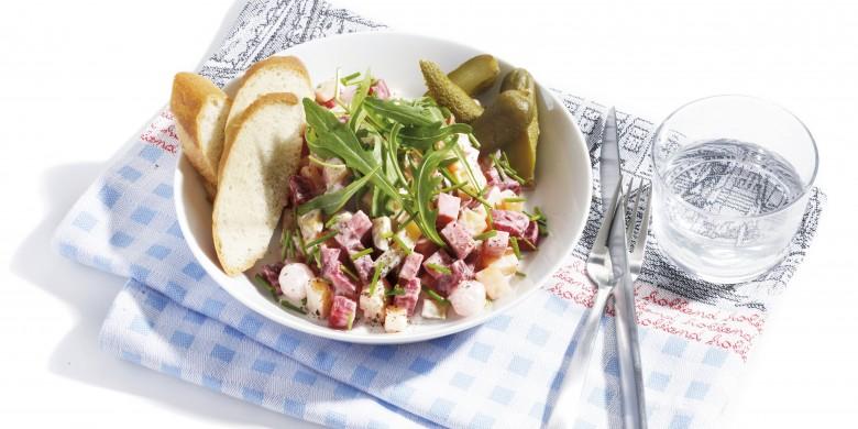 Lauwwarme aardappel-bietensalade